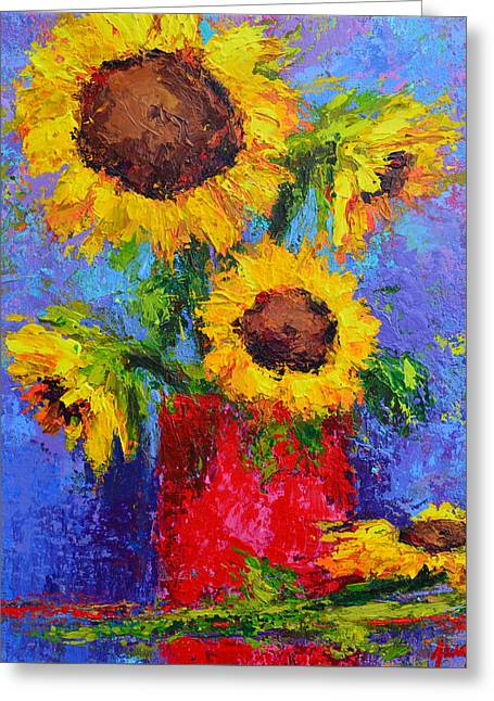 Here Comes The Sunshine Modern Impressionist Floral Still Life Palette Knife Work Greeting Card by Patricia Awapara