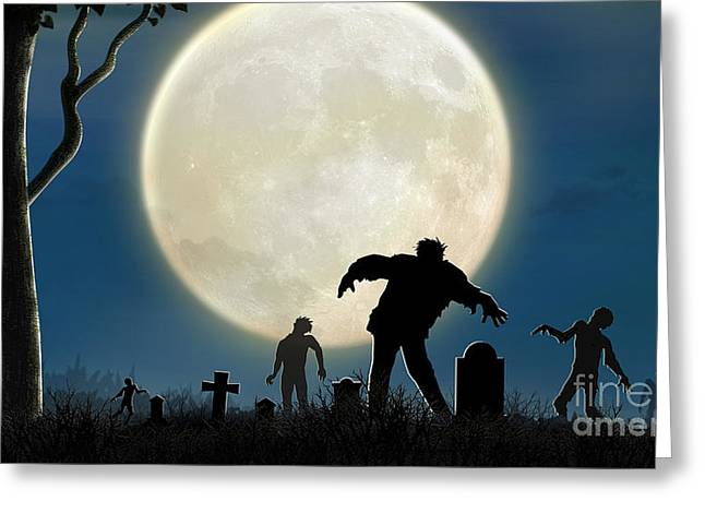 Here Comes The Zombies Greeting Card by Bedros Awak
