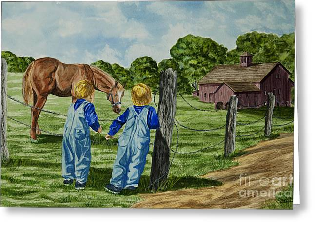 Old Country Roads Paintings Greeting Cards - Here Horsey Horsey Greeting Card by Charlotte Blanchard