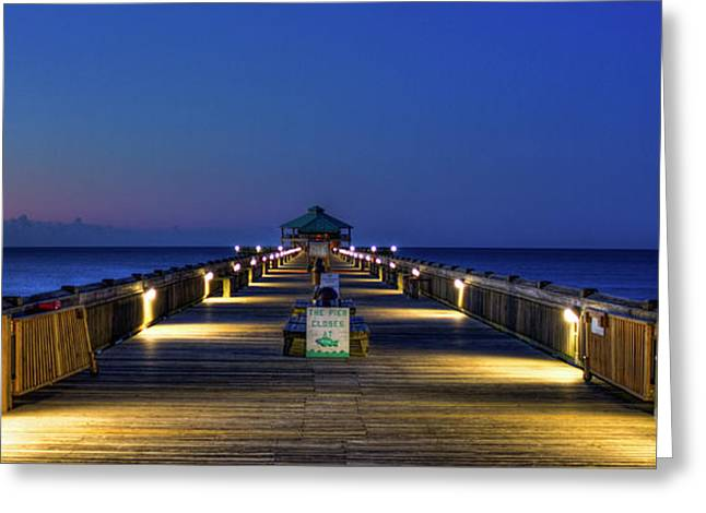 Greeting Card featuring the photograph Here It Comes Now Folly Beach Pier Sunrise Art by Reid Callaway