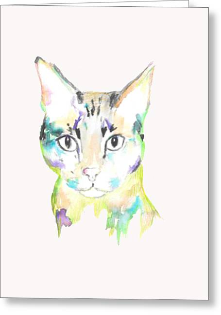 Here Kitty T-shirt Greeting Card by Herb Strobino