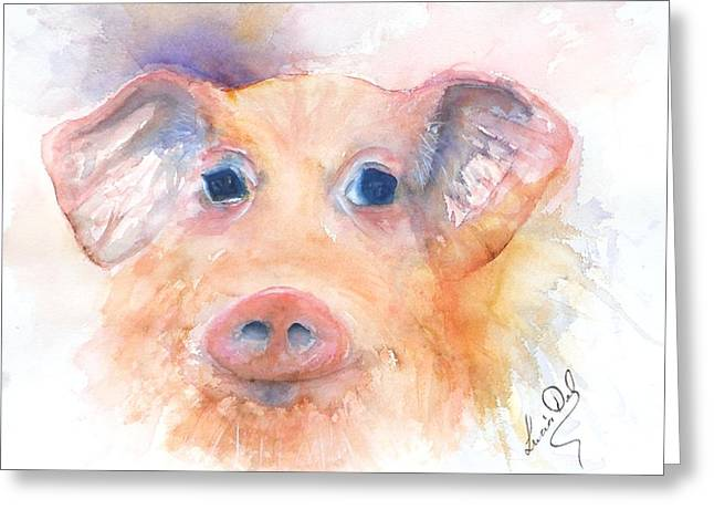Here Piggy Greeting Card by Lucia Del
