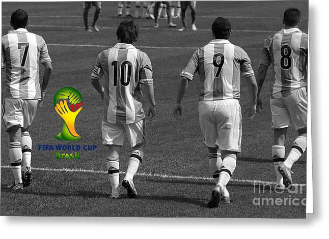 Here We Come Lionel Messi Fifa 2014 Black And White Greeting Card by Lee Dos Santos