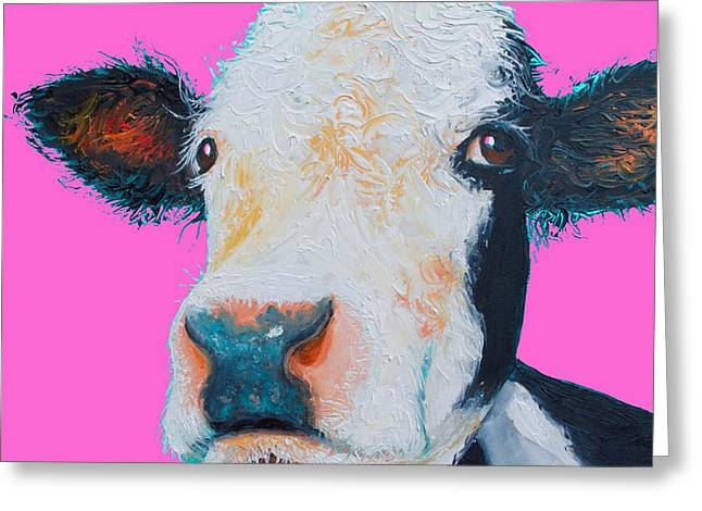 Hereford Cow On Hot Pink Greeting Card by Jan Matson
