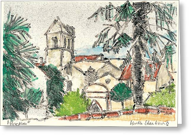 Greeting Card featuring the painting Herepian Village In Provence by Martin Stankewitz