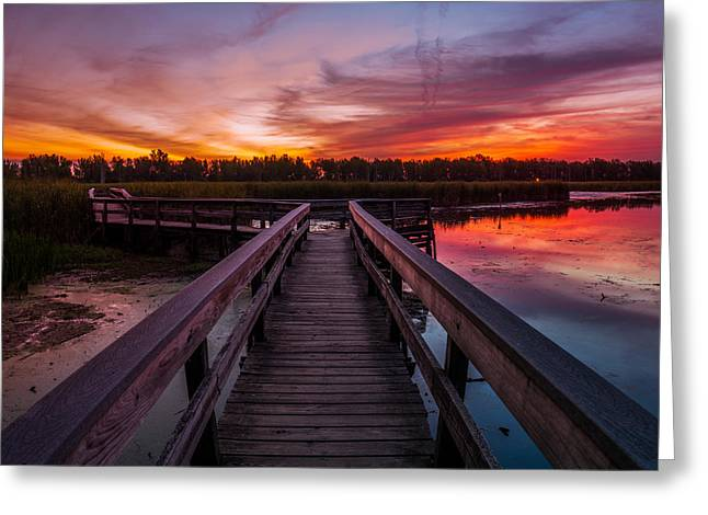 Greeting Card featuring the photograph Heritage Boardwalk Twilight - Square by Chris Bordeleau