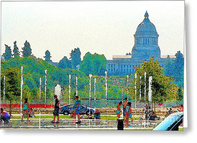 Greeting Card featuring the photograph Heritage Park Fountain by Larry Keahey