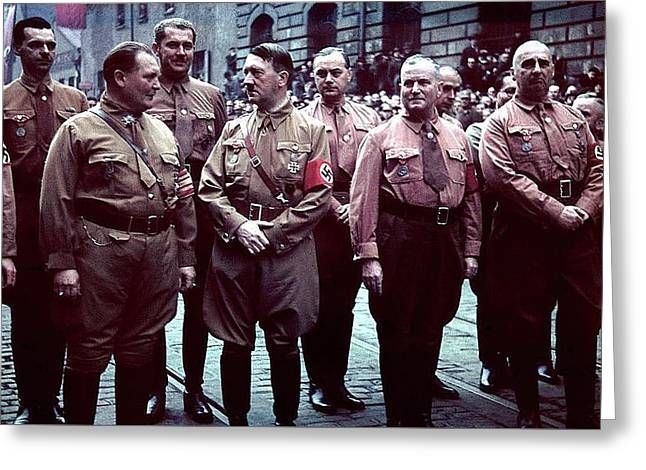 Herman Goering And Adolf Hitler Agfacolor C.1933 Greeting Card by David Lee Guss
