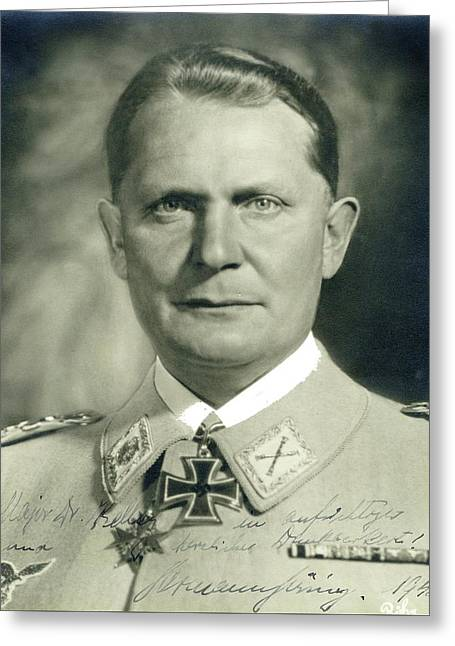 Herman Goering Autographed Photo 1945 Color Added 2016 Greeting Card by David Lee Guss