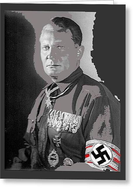 Herman Goering Portrait With His Medals Including The Blue Max Circa 1935-2016 Greeting Card by David Lee Guss