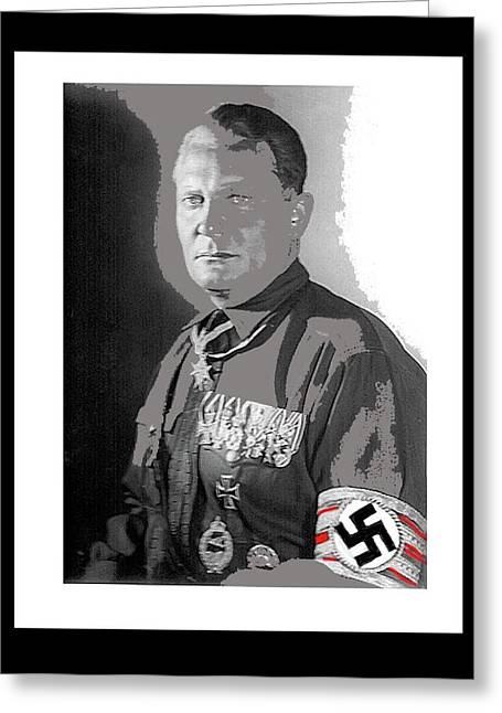 Herman Goering  Wearing The Blue Max Around His Neck 1932 Color And Frames Added 2016 Greeting Card by David Lee Guss
