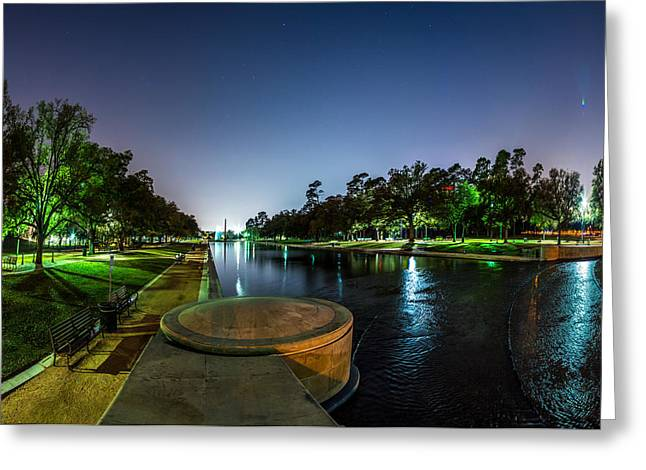 Hermann Park Reflecting Pool In Houston Texas Greeting Card by Micah Goff
