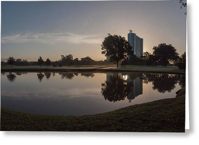 Greeting Card featuring the photograph Hermann Park Sunrise by Joshua House