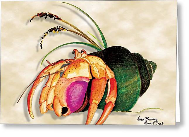 Greeting Card featuring the painting Hermit Crab In Green Shell by Anne Beverley-Stamps
