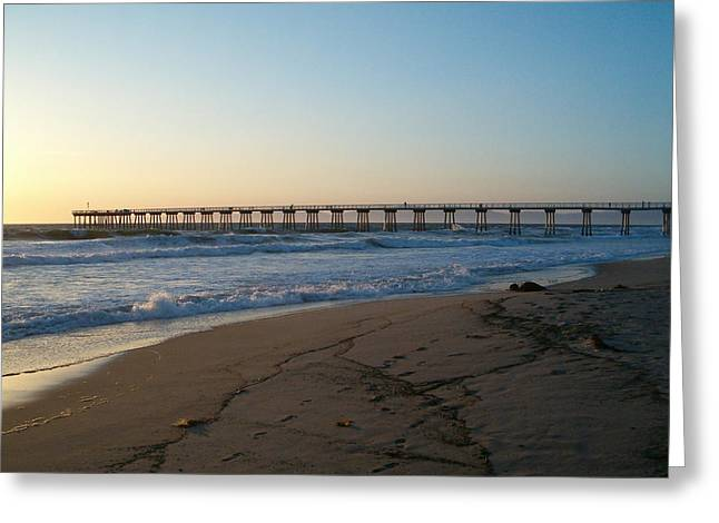 Hermosa Beach Pier At Sunset Greeting Card