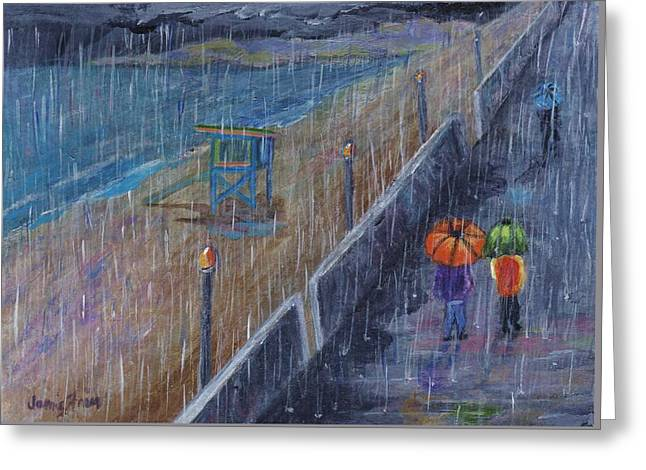Greeting Card featuring the painting Hermosa Beach Rain by Jamie Frier