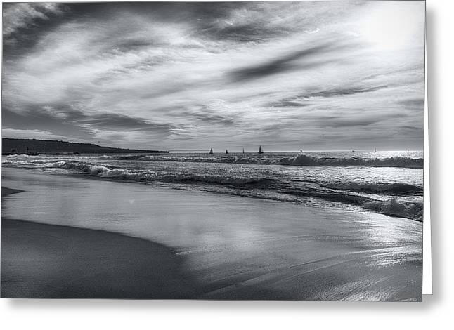Hermosa Evening Black And White Greeting Card