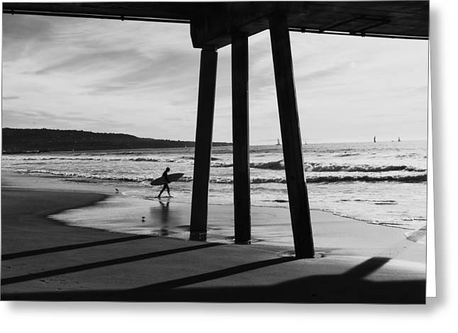 Hermosa Surfer Under Pier Greeting Card