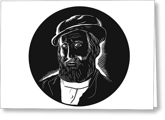 Hernan Cortes Conquistador Woodcut Greeting Card by Aloysius Patrimonio