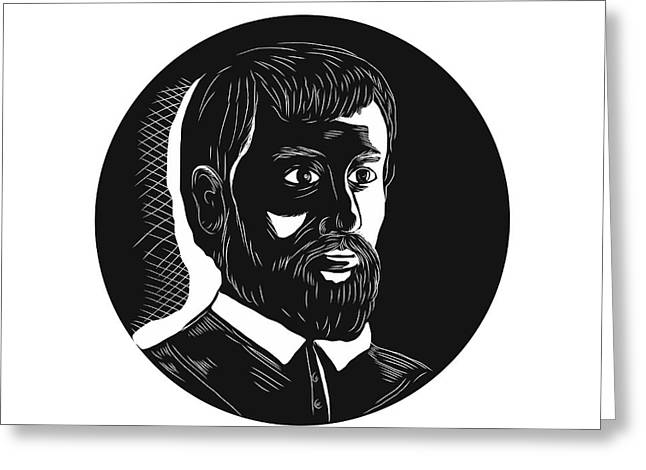 Hernando De Soto Explorer Circle Woodcut Greeting Card by Aloysius Patrimonio