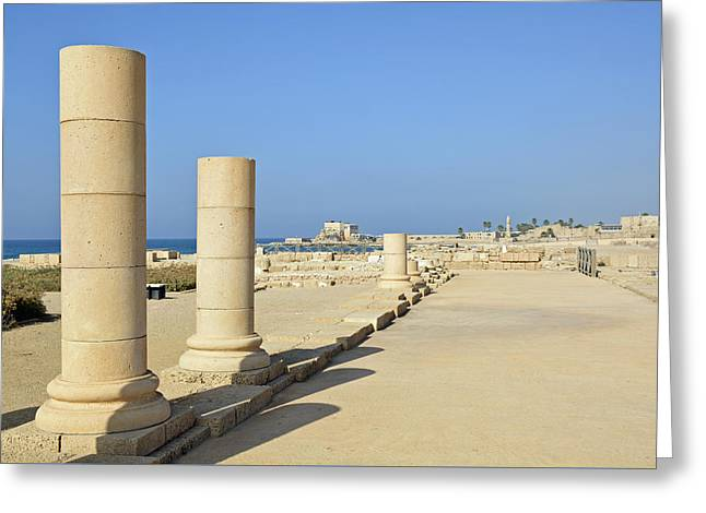Herodian Ruins At Caesarea National Park Greeting Card by Bruce Gourley