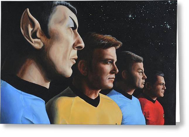 Star Trek Paintings Greeting Cards - Heroes of the Final Frontier Greeting Card by Kim Lockman