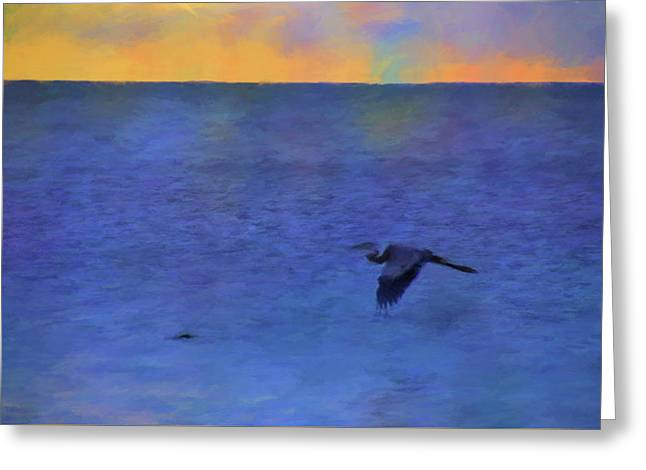 Greeting Card featuring the photograph Heron Across The Sea by Jan Amiss Photography