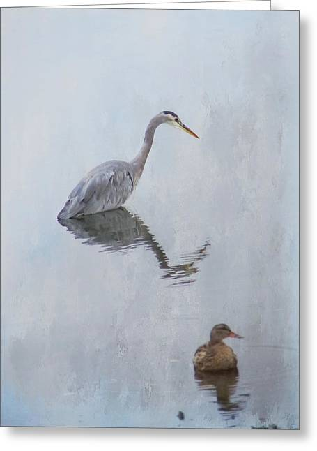 Heron And Friend 2 Greeting Card