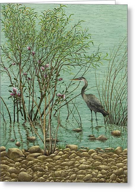 Heron At Crabtree Creek Greeting Card by Mary Ann King