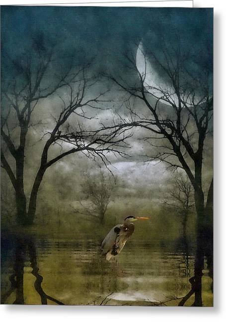 Heron By Moon Glow  Greeting Card