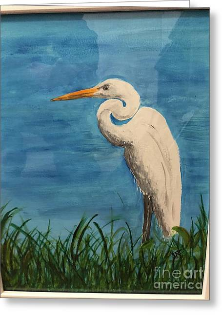 Greeting Card featuring the painting Heron by Donald Paczynski