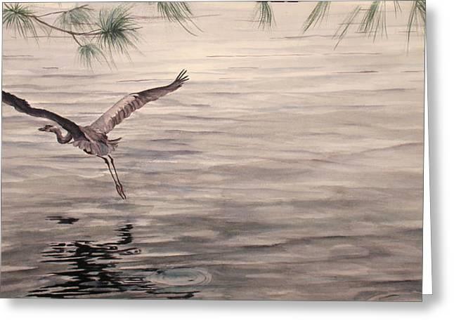Heron In Flight Greeting Card by Debbie Homewood