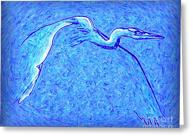 Greeting Card featuring the photograph Heron In Flight by Walt Foegelle