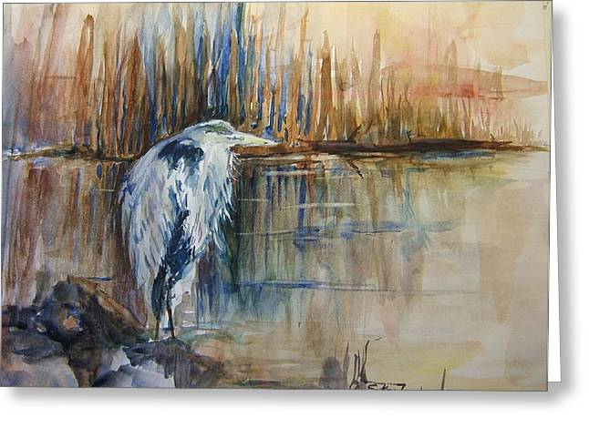 Heron In The Reeds 1 Greeting Card by Sukey Watson