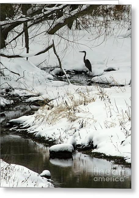Heron In Winter Greeting Card