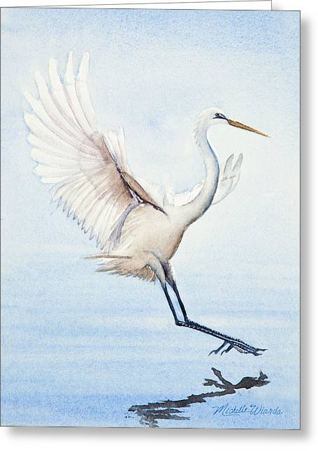 Heron Landing Watercolor Greeting Card