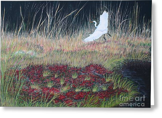 Heron Over Autumn Marsh Greeting Card by Cindy Lee Longhini