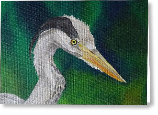 Heron Painting Greeting Card by Isabel Proffit