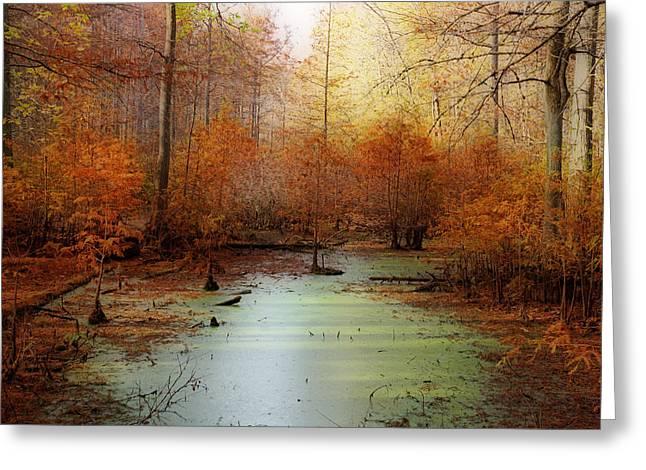 Heron Pond - Autumn Greeting Card by Sandy Keeton