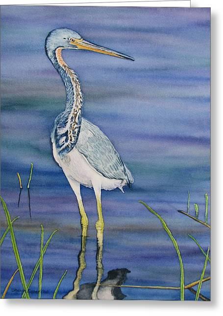 Heron Greeting Card by Sharon Farber