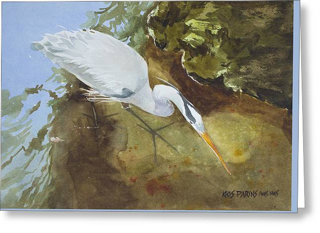 Heron Under The Bridge Greeting Card by Kris Parins
