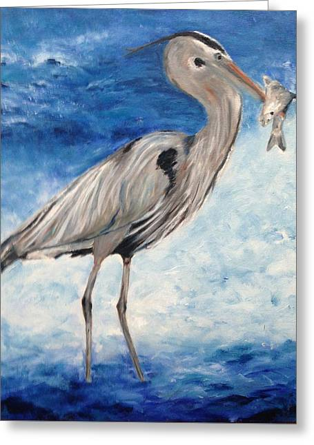 Heron With Fish Greeting Card