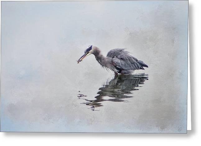 Heron Fishing  - Textured Greeting Card