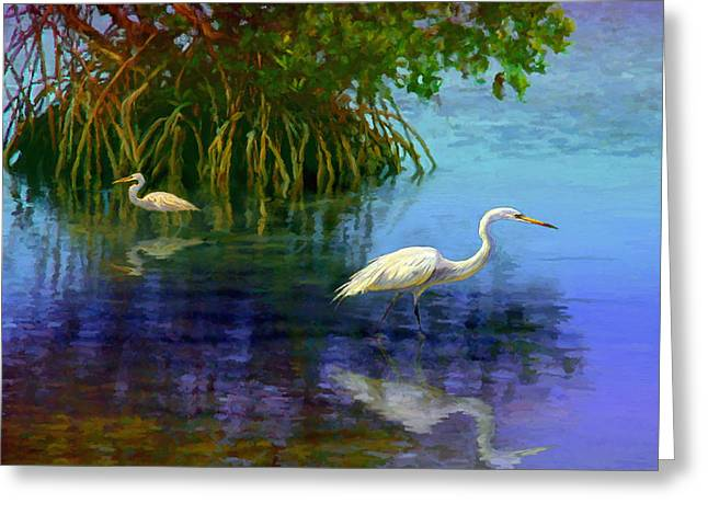 Herons In Mangroves Greeting Card