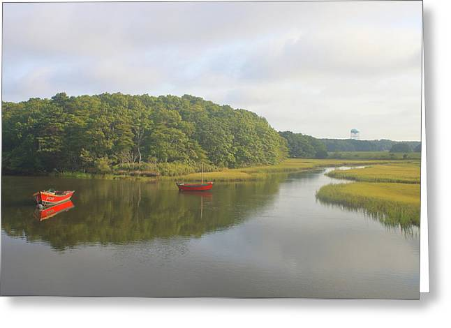 Herring River And Red Boats Cape Cod Greeting Card
