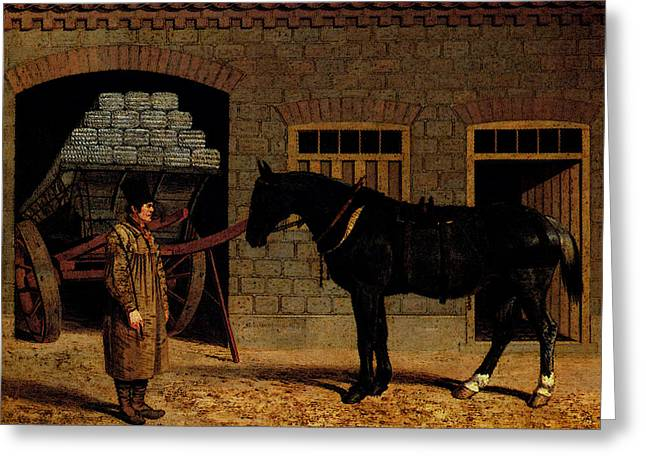 Herring Sr John Frederick A Cart Horse And Driver Outside A Stable Greeting Card