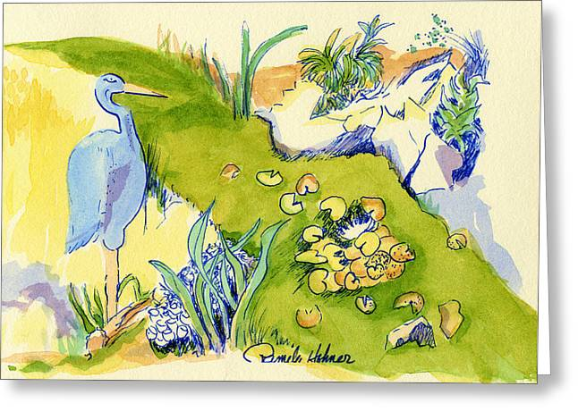 Blue Herron Paintings Greeting Cards - Herron Pond Greeting Card by Pamee Hohner