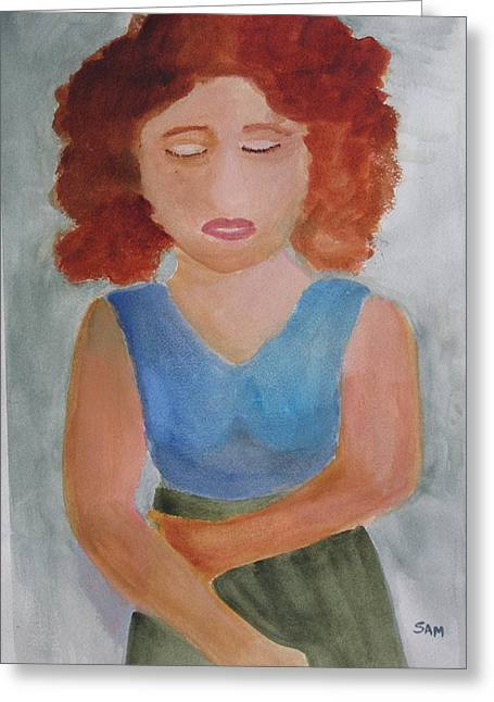 Greeting Card featuring the painting Herself by Sandy McIntire