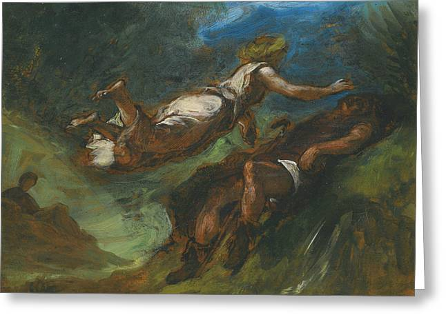 Hesiod And The Muse Greeting Card by Eugene Delacroix