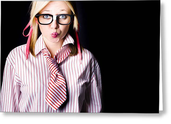 Hesitant Uncertain Smart Business Girl On Black Greeting Card by Jorgo Photography - Wall Art Gallery